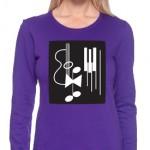 photo of ladies purple long sleeve tee shirt on model