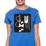 photo of ladies royal blue short sleeve tee shirt